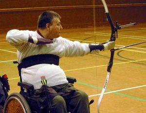 Disability Archery, an archer on the shooting line